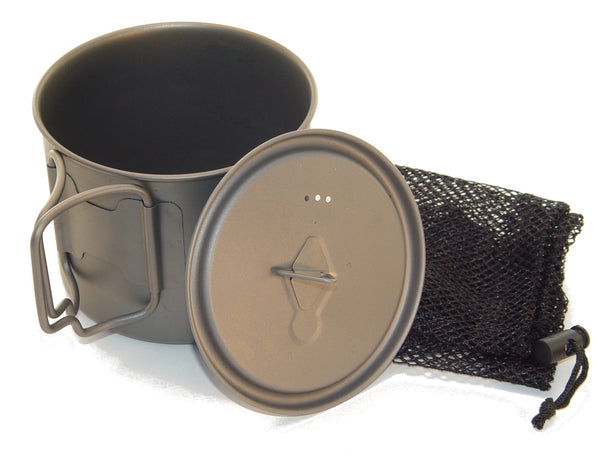 Titanium Mug 550 ML with folding handles and Lid