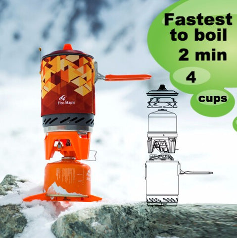 Compact One-Piece Camping Stove, Flux-Ring Heat Exchanger Flash Boil Personal Cooking System - Like a Jet Boil