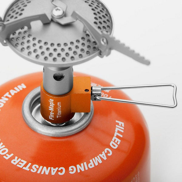 Ultralight (45g) Fire Maple Brand Titanium Stove weighs half as much as an MSR Stainless Steel Pocket Rocket (85g)