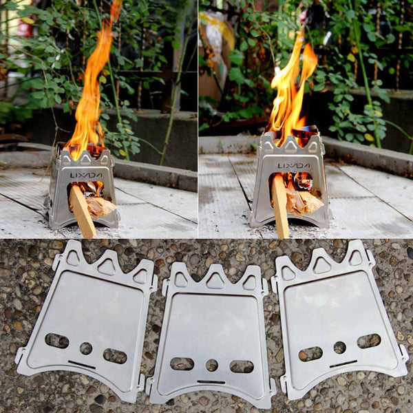 Compact Portable Folding Wood Stove for Outdoor Camping Cooking Picnic Hiking