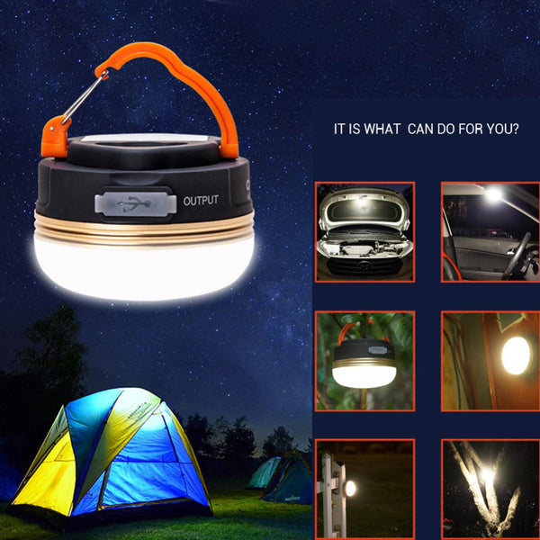 3W LED Mini Portable Waterproof Camping Lantern forTents, Outdoor, Hiking,  USB Rechargeable