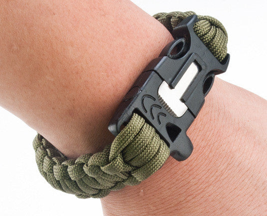 Survival Paracord Bracelet with COMPASS, Emergency Rope, Whistle, Flint Fire Starter, Scraper.