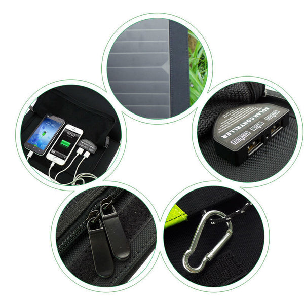 High Quality 14W, 5V Portable Solar Panel Charger, Dual USB,  X-DRAGON  for 2 Cell Phones or devices