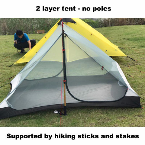 Ultralight 2-layer 3-season 15D Silnylon Pole-less Backpacking Tent