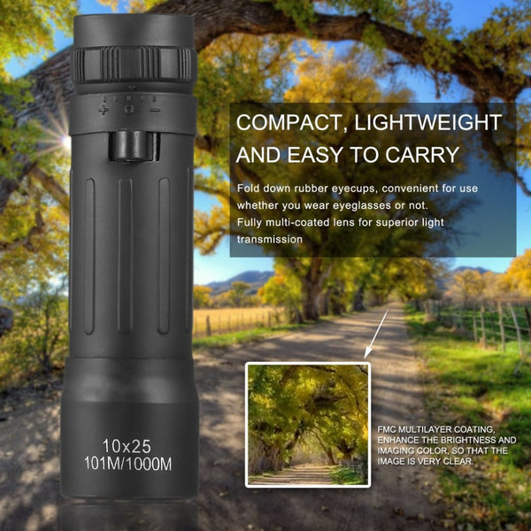 Handy Compact Monocular Pocket Scope for Hiking, Camping, Hunting, Sports Fans, Concert Goers