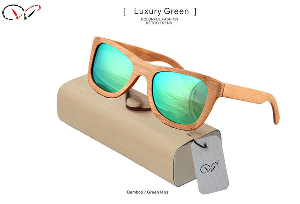 Bamboo Wood Floating Sunglasses with Polarized Mirror Lenses in 14 colors