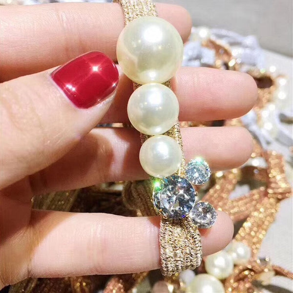 Crystal Pearl Elastic Rubber Band  For Women And Girls Hair Accessories