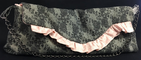 Black and Pink Ruffle Purse