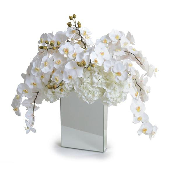 Cascading Orchids in Mirrored Vase
