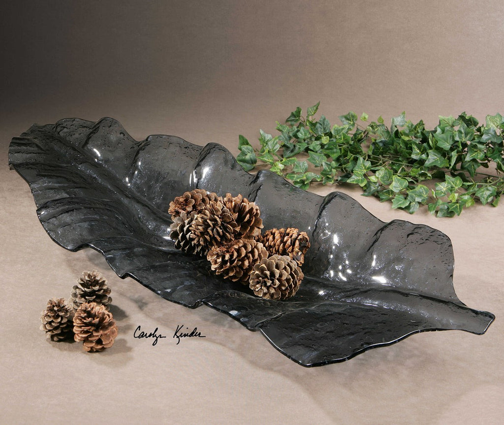 Smoked Leaf Glass Tray