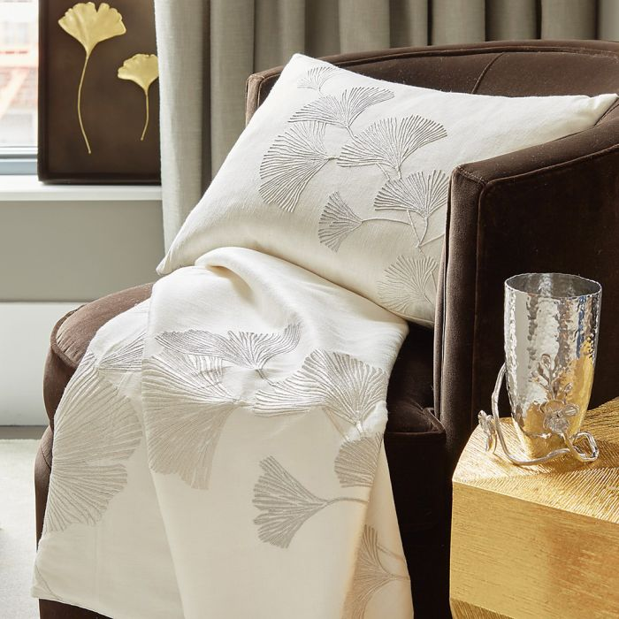 Gingko Leaf Embroidered Throw