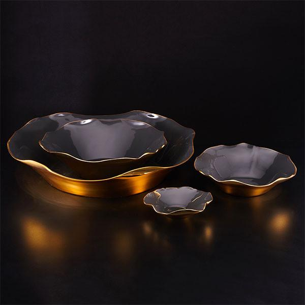 Ruffled Bowl XL- Graphite & Gold