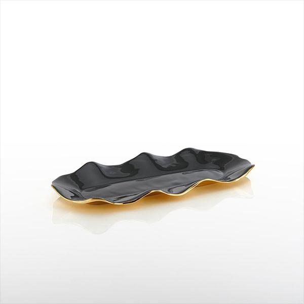 Ruffled Tray- Small Graphite & Gold