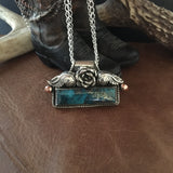 Fancy Kingman Turquoise  Bar with rose Necklace