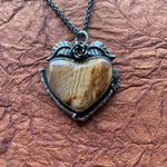 Hells Canyon Petrified wood Heart Necklace