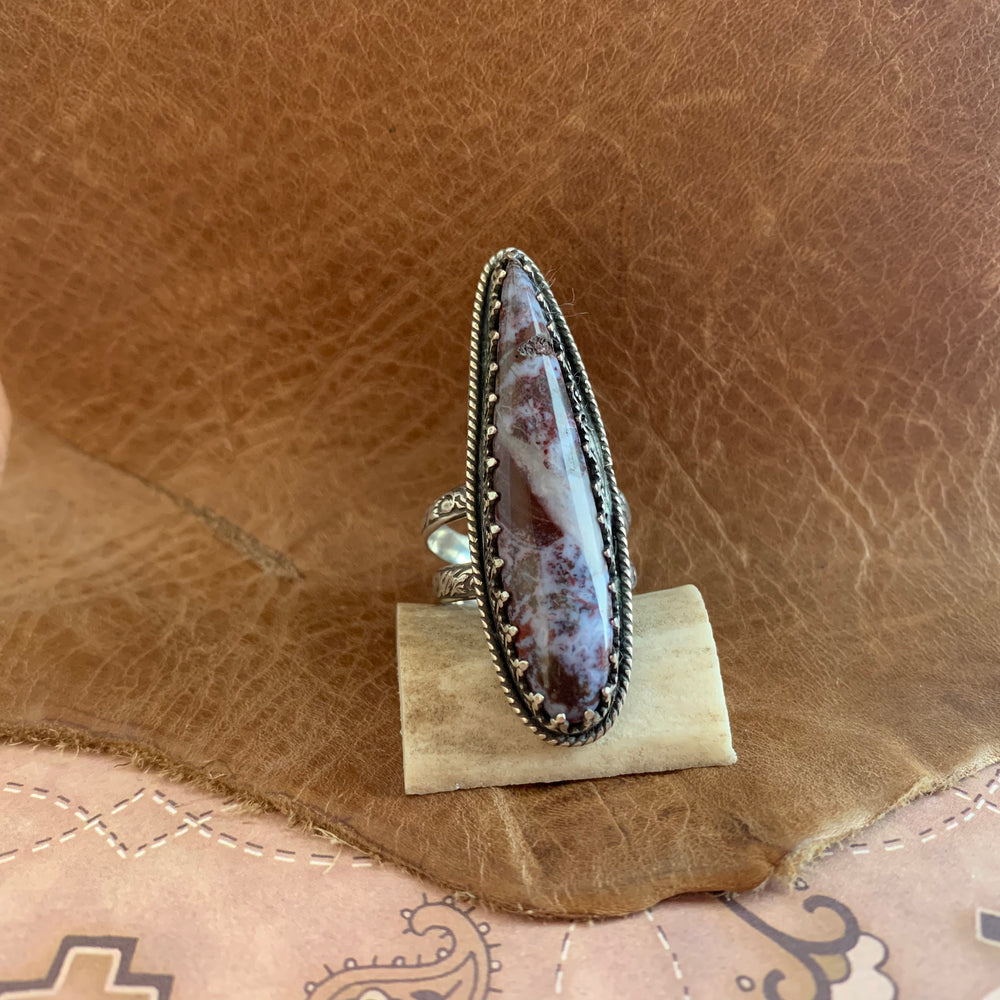 Beautiful Maroon Jasper Sterling Silver Ring