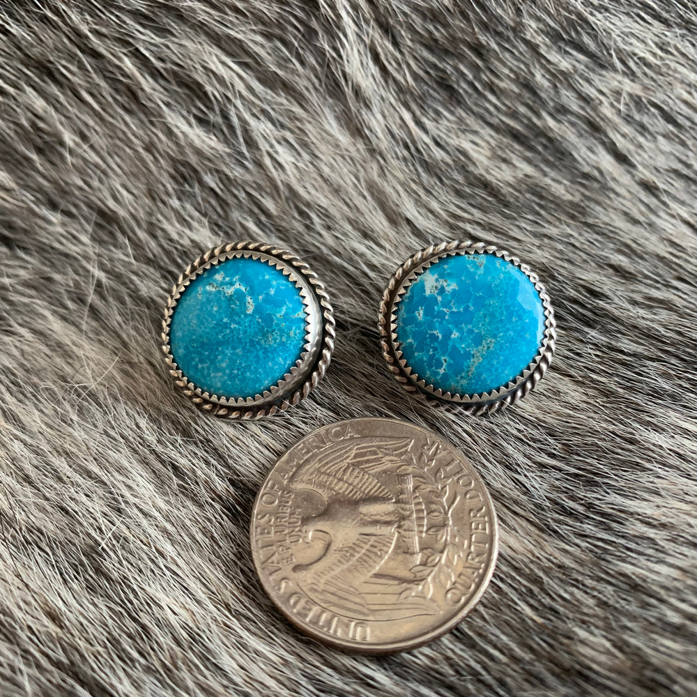 Round Kingman Turquoise Sterling Silver earrings
