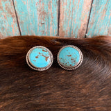 Round Baja Turquoise Sterling Silver earrings