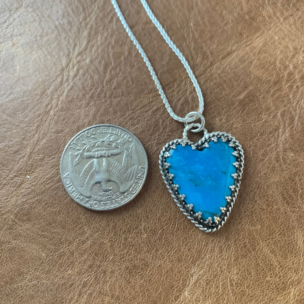 Kingman Turquoise Heart Sterling Silver Necklace.