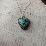 Turquoise Heart Sterling Silver Necklace.