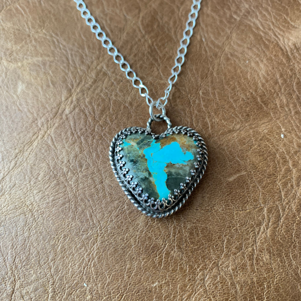 Baja Turquoise Heart Sterling Silver Necklace.