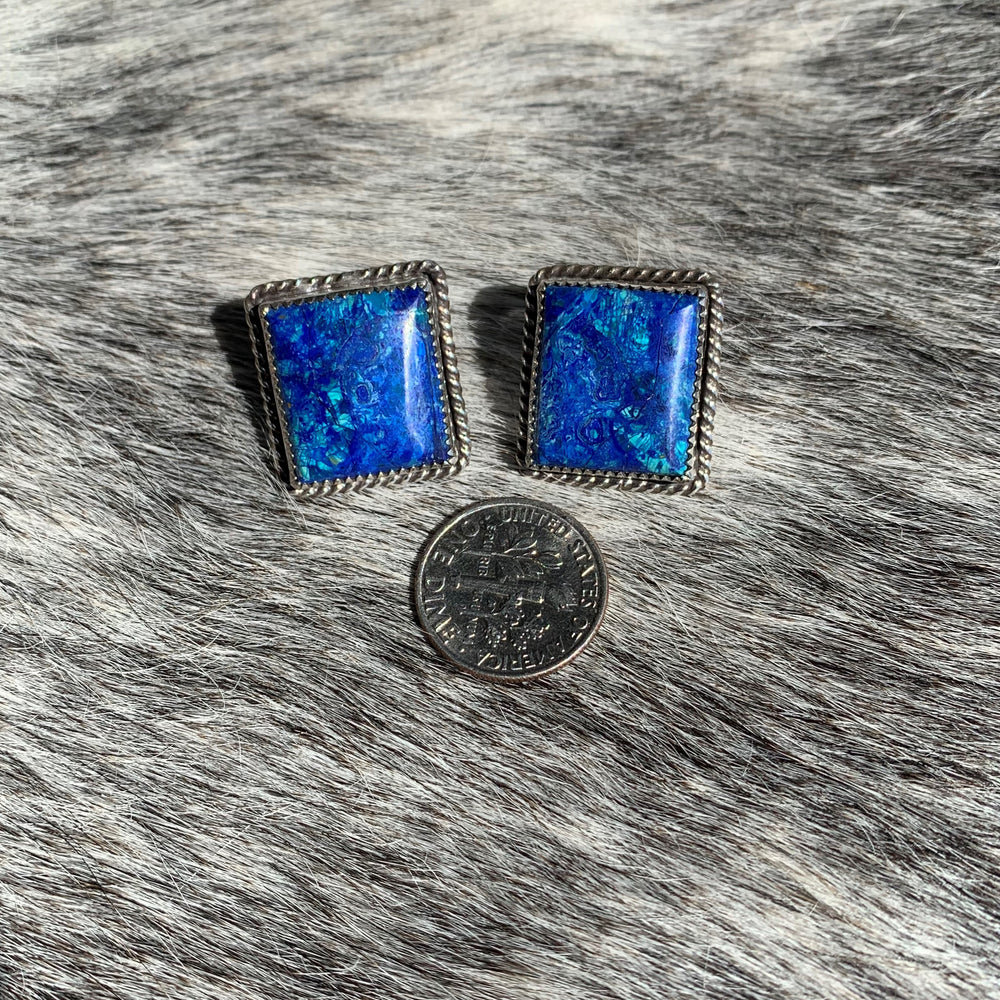 Azurite with Sterling Silver Post earrings