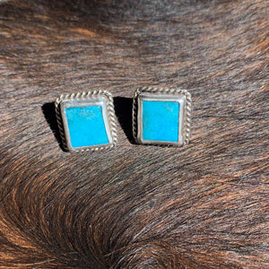 Kingman Turquoise with Sterling Silver Post earrings