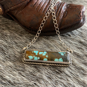 Beautiful # 8 Turquoise Bar Necklace