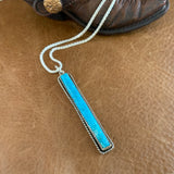 Hanging Kingman Turquoise Bar Necklace