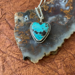 Baja Turquoise Sterling Silver Heart Necklace