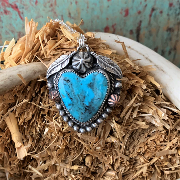 Kingman Turquoise Sterling Silver Heart Necklace