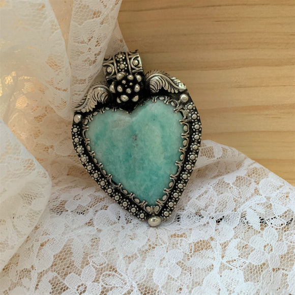 Amazonite Heart Sterling Silver Necklace.