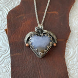 Blue Chalcedony Sterling Silver Heart Necklace