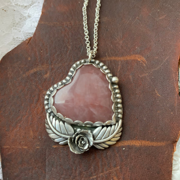 Pink Quartz Sterling Silver Heart Necklace