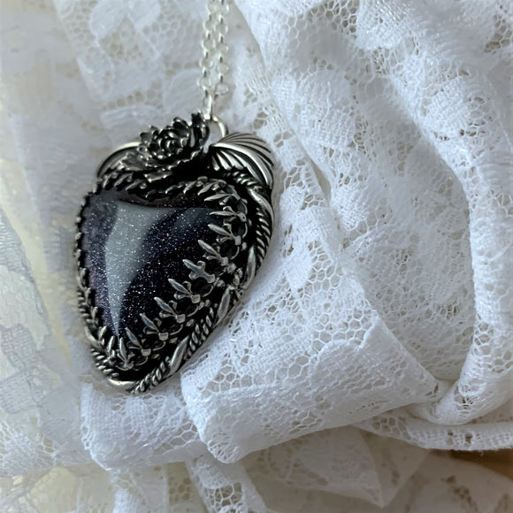 Blue Goldstone Heart Sterling Silver Necklace.