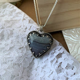 Amethyst Cathedra Sterling Silver Heart Necklace