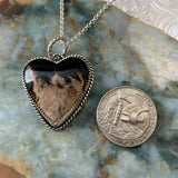Petrified Palm Wood  Sterling Silver Heart Necklace