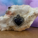 Sparkly Blue Goldstone Heart Sterling Silver Necklace.