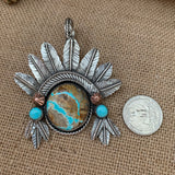 Beautiful #8 Turquoise Feather with Pendant