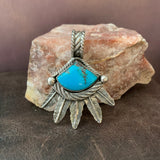 Sterling Silver feathers with Kingman Turquoise Pendant