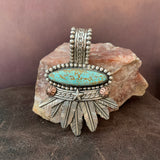 Stunning #8 Turquoise oval and Feather Pendant