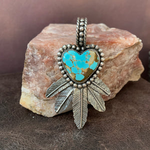 Beautiful #8 Turquoise Heart and Feather Pendant
