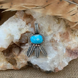 Small Turquoise with Sterling Silver Feathers  Pendant