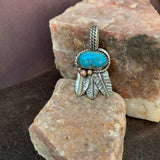 Tiny Turquoise Feathers with Pendant