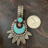 Beautiful Kingman Turquoise half moon and Feather Pendant