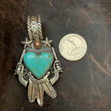 Beautiful Kingman Turquoise Heart and Feather Pendant