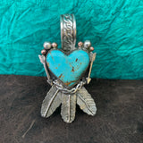 Beautiful Baja Turquoise Heart and Feather Pendant