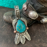 Teardrop Turquoise and Feather Pendant