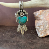 Stunning Compitos Turquoise Heart and Feather Pendant