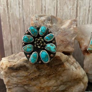 Sonoran mountain Turquoise Cluster Ring Size 9.5